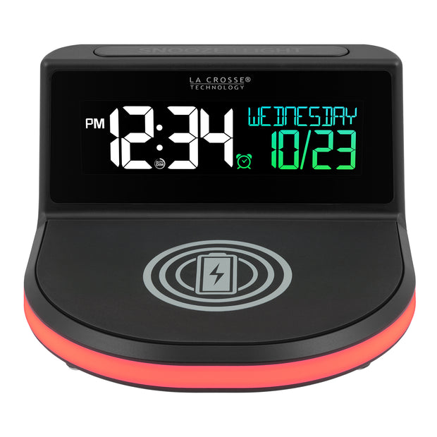 "617-148 ""Glow"" Wireless Charging Alarm Clock with Indoor Temperature"