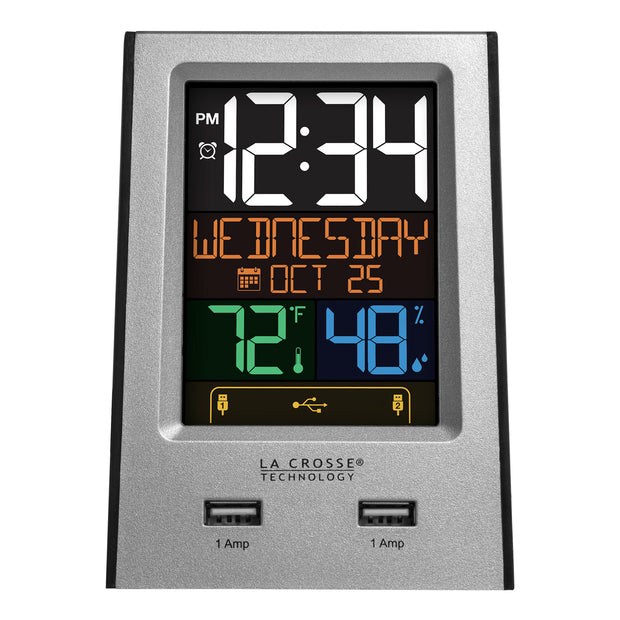 617-1614 Multi-Color Digital Alarm Clock with USB