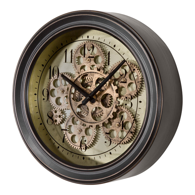 BBB85289 13 in Metal Clock with Working Gears