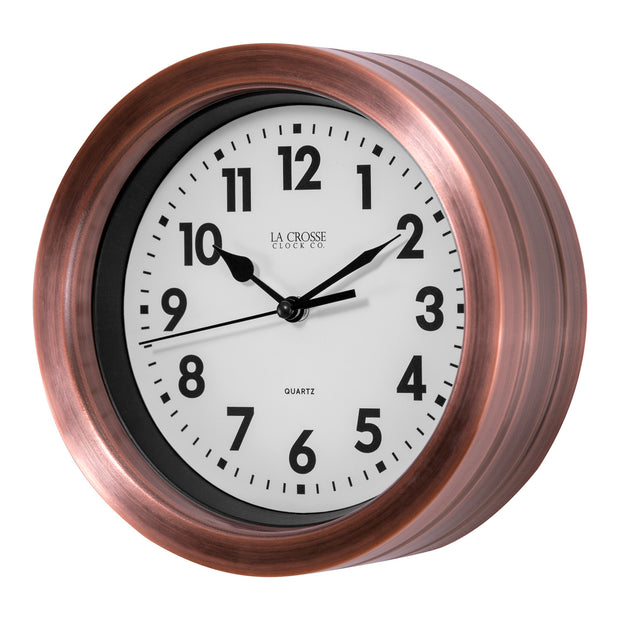 BBB85296 7 inch Metal Wall Clock with Copper FInish