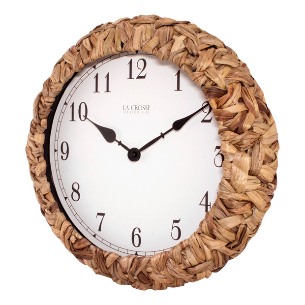 BBB85456 14 inch Palm Leaf Wrapped Clock