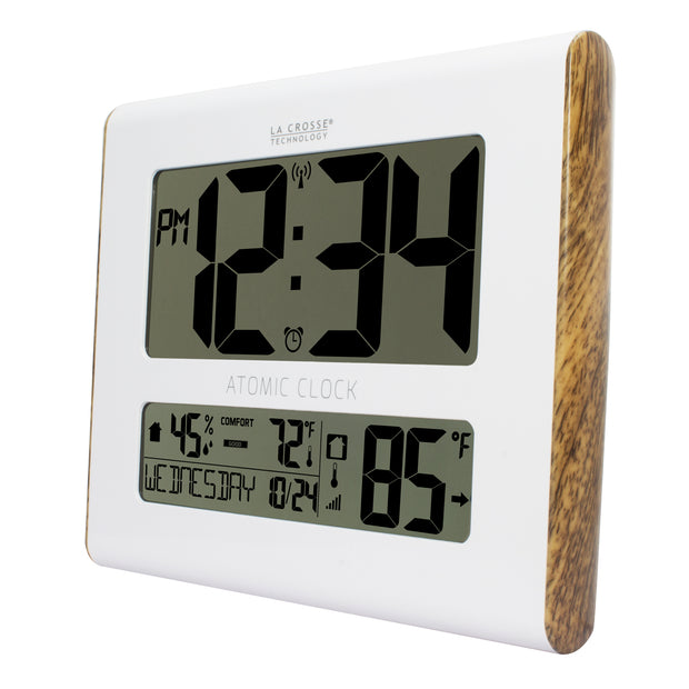 BBB86095 Atomic Digital Wall Clock with Indoor/Outdoor Temperature and Indoor Humidity
