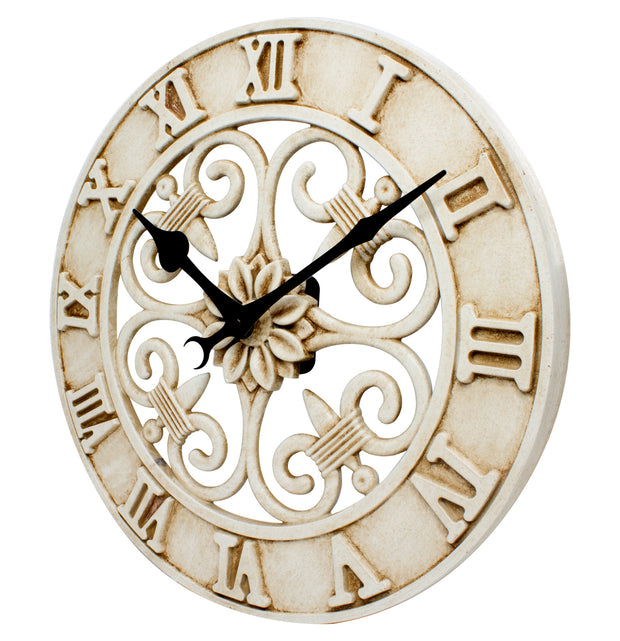 BBB86491 14 inch Indoor/Outdoor Analog Cast Metal Clock