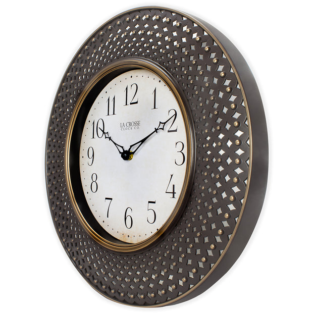 BBB86507 16 inch Antiqued Brown Analog Lattice Wall Clock