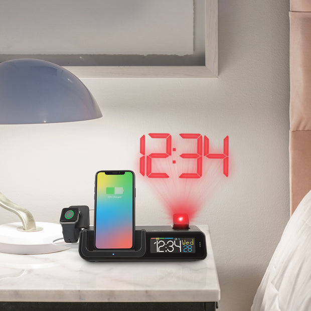C80765 Wattz Wireless Charging Projection Alarm Clock