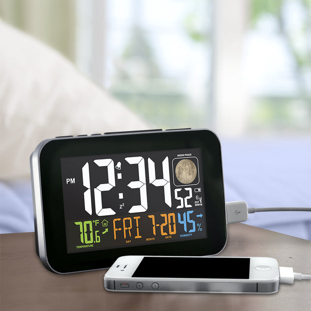 C85183 Multi-Color Atomic Alarm Clock with USB Charging  & Snooze