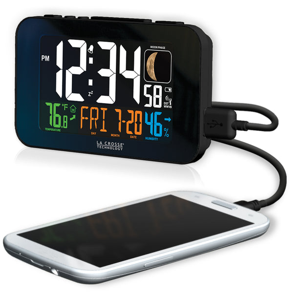 C89201BK Multi-Color Atomic Alarm Clock with USB Charging and Snooze