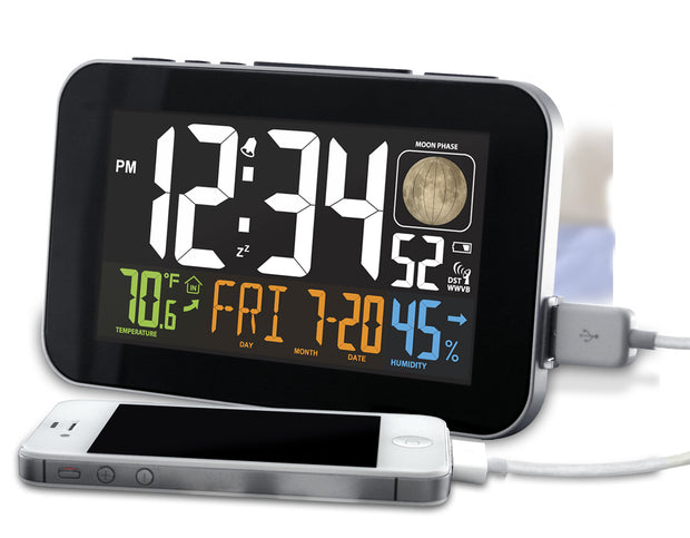 K84292 Multi-Color Atomic Alarm Clock with USB Charging  & Snooze