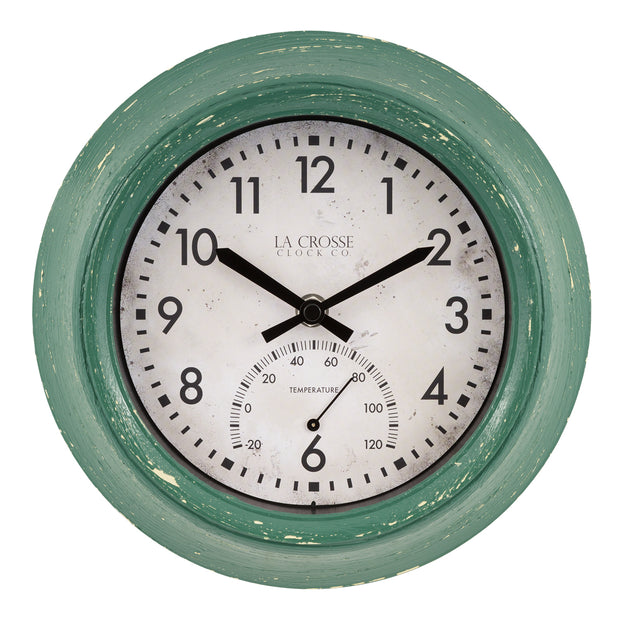 T82394 9 inch In/Outdoor Wall Clock with Temperature