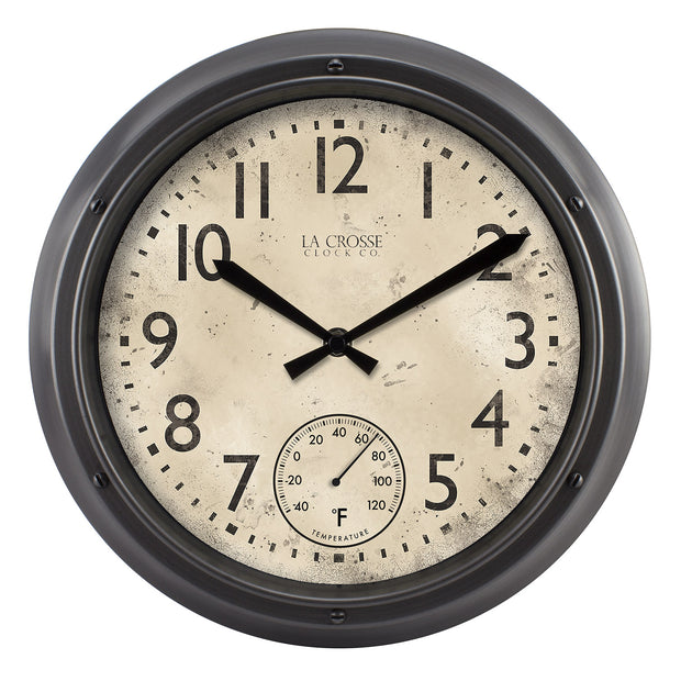 T84220 12 inch Indoor/Outdoor Wall Clock with Temperature