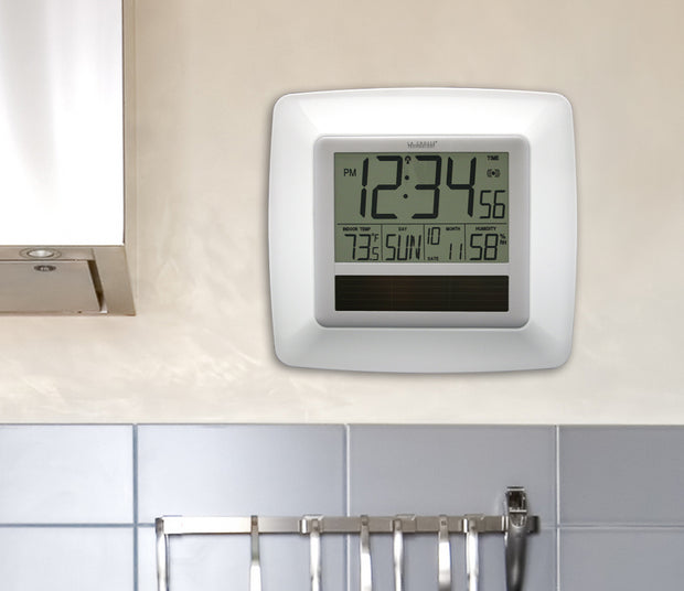 WT-8112U-WH Solar Atomic Digital Wall Clock with Indoor Temperature and Humidity
