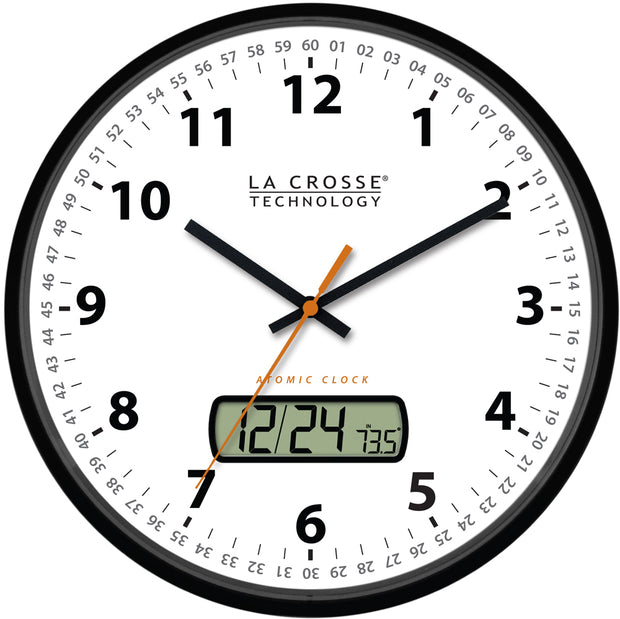 WT-3128U-BK 12 inch Atomic Wall Clock with Date Display