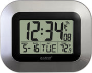 WT-8005U-S Atomic Digital Wall Clock with Indoor Temperature and Date