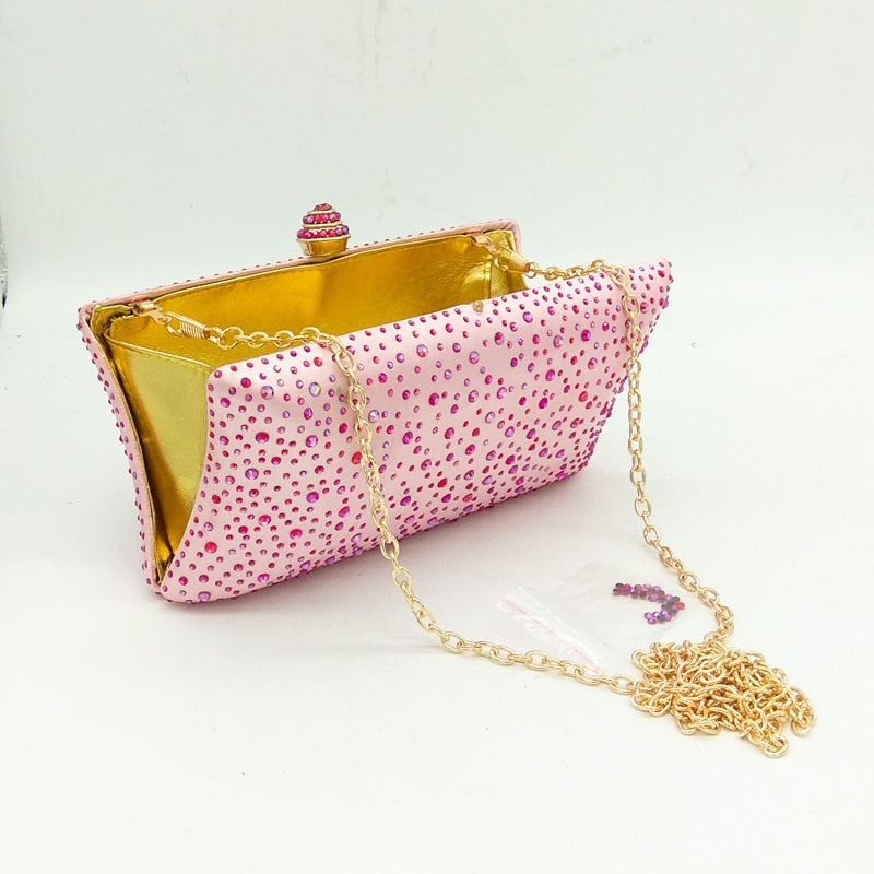 Evening hand bag in various colours with sprinkled diamond imitations