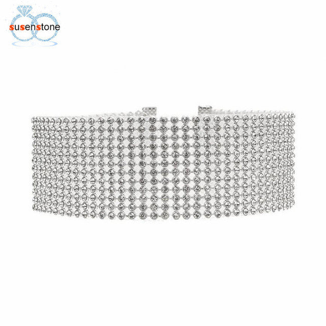 SUSENSTONE Women Full Crystal Rhinestone Choker Necklace