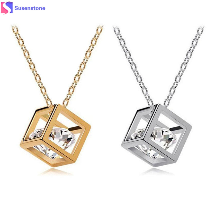 Women Chain Crystal Rhinestone Square Pendant Alloy Necklace jewellery