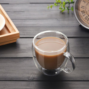 Double wall glass coffee cup 7oz