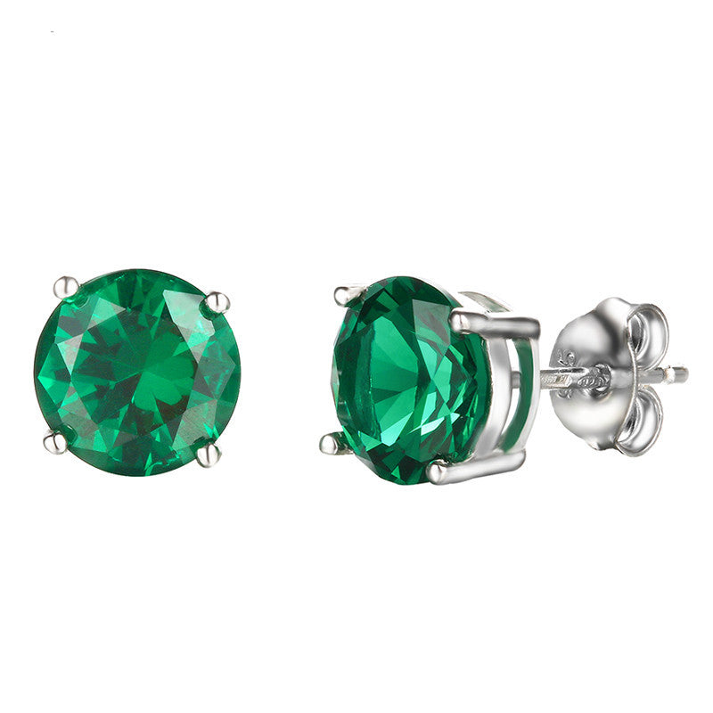 Nano Russian Emerald Genuine 925 Sterling Silver Stud Earrings