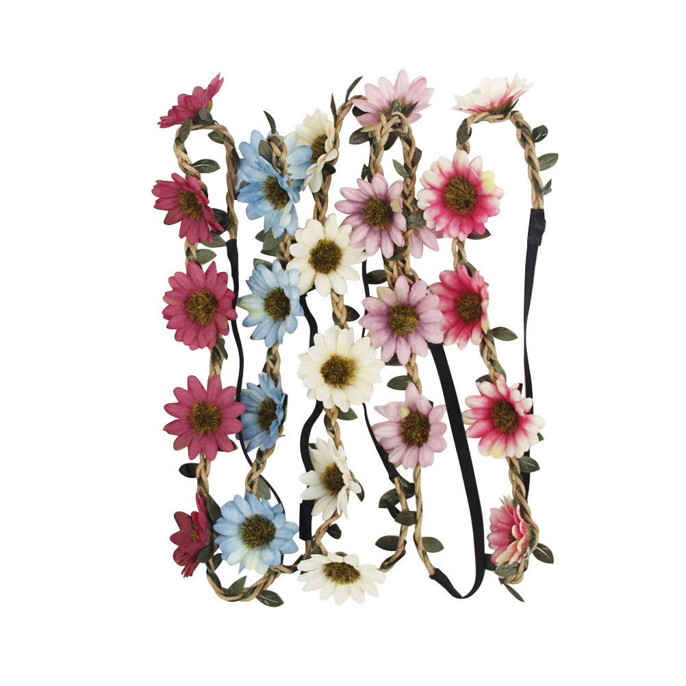 5Pcs Multicolor Flower Headband Sunflower Crown with Adjustable Elastic Ribbon