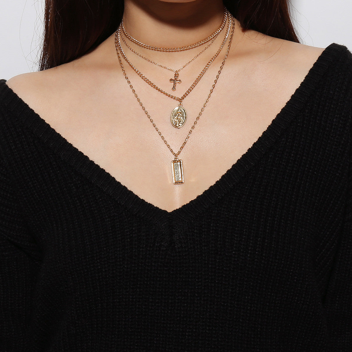 Multilayer Cross Pendant Chain