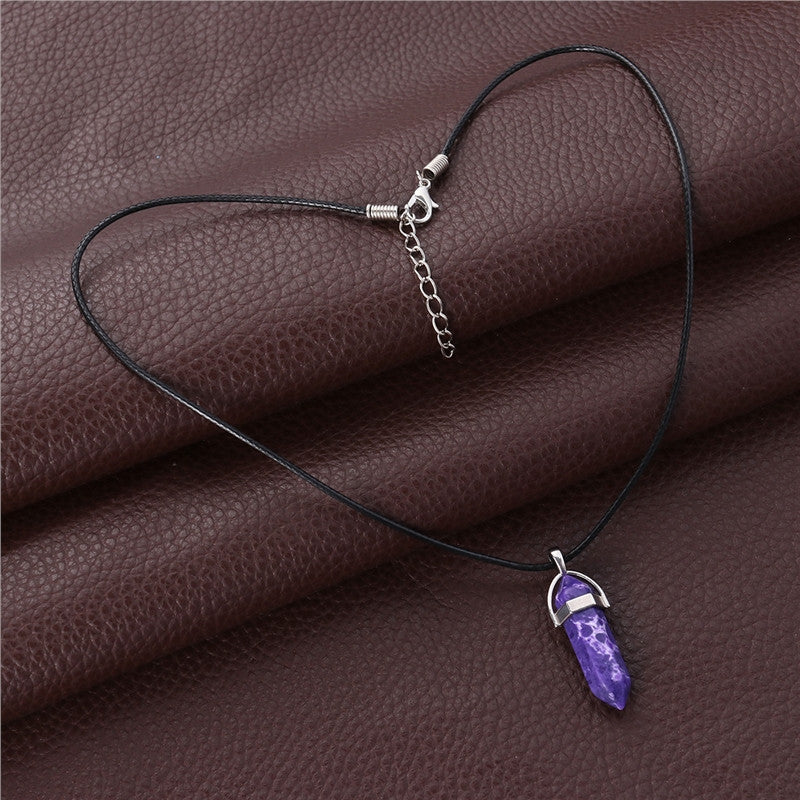 Hexagonal Quartz Crystal Stone Pendant Necklace with Wax Rope for Women