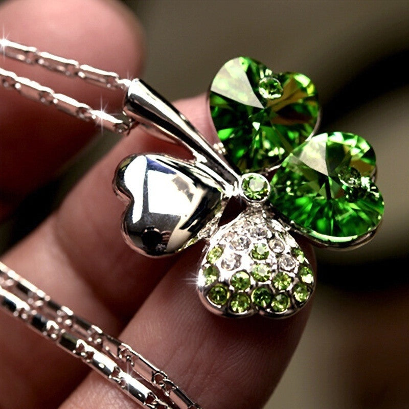 Elegant Green/Blue Crystal Leaf Lucky Rhinestone Four Leaf Clover Pendant Necklace
