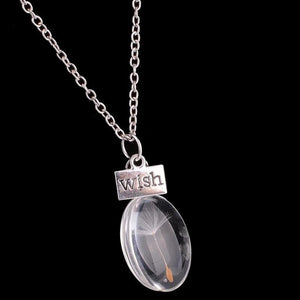 New Wish Glass Oval Dandelion Seeds Pendant Necklace Jewelry Silver Chain Charm
