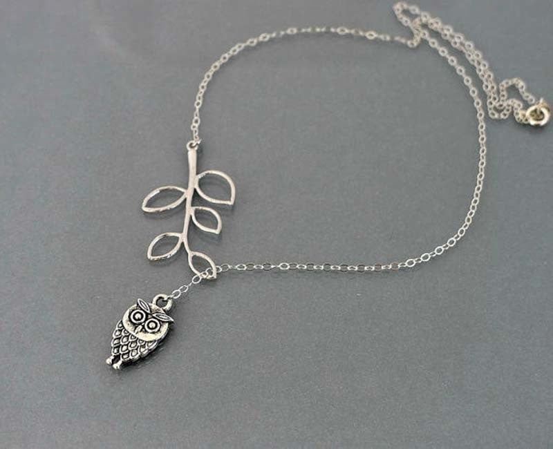 Simple Little Owl Leaves Tassels Aolly Necklace
