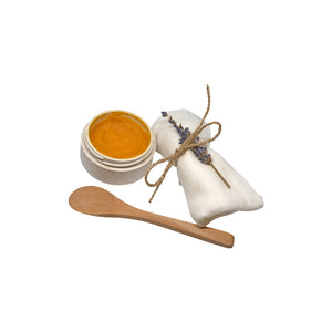 Cleansing Facial Melt (set with cloth & bamboo spoon). With Sea Buckthorn Oil & Bisabolol.