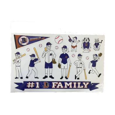 Durham Bulls Family Sticker Sheet