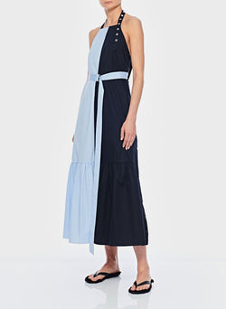 Tech Poplin Colorblock Dress Blue-2