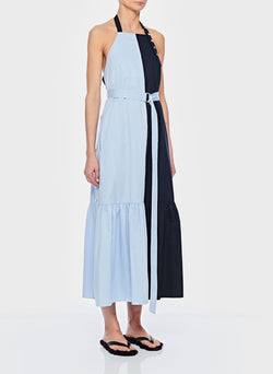 Tech Poplin Colorblock Dress Blue-3