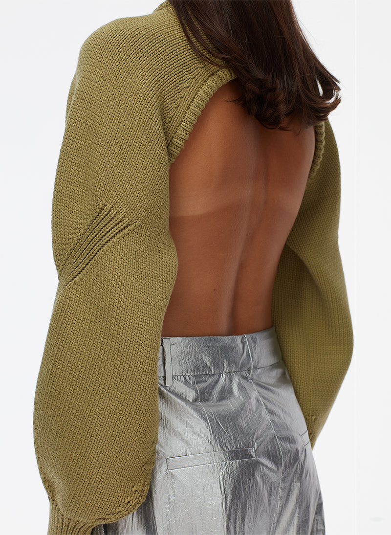 Tube Yarn Sweater Open Back Cropped Pullover Tube Yarn Sweater Open Back Cropped Pullover