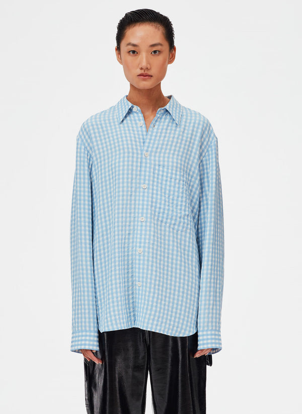 Viscose Gingham Relaxed Blouse