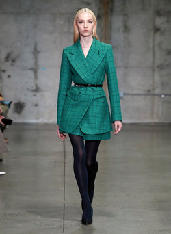 Windowpane Peaked Lapel Blazer Celadon Multi-7