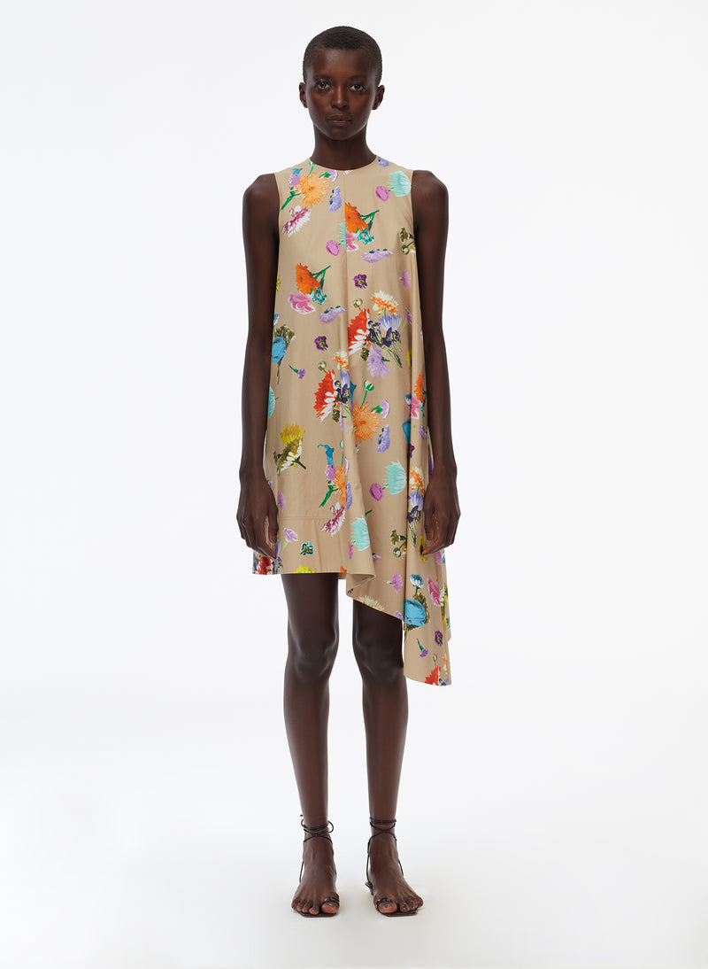 Arya Print Sleeveless Dress With Asymmetrical Hem khaki multi-1