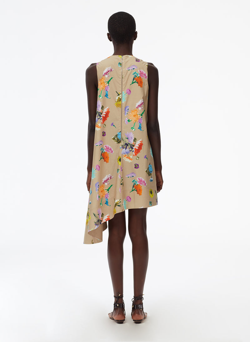 Arya Print Sleeveless Dress With Asymmetrical Hem khaki multi-3