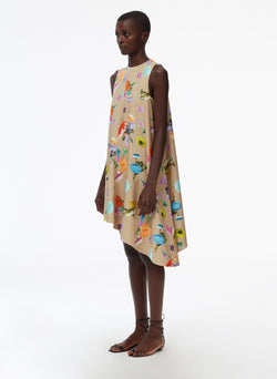 Arya Print Sleeveless Dress With Asymmetrical Hem khaki multi-2