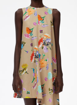 Arya Print Sleeveless Dress With Asymmetrical Hem khaki multi-4