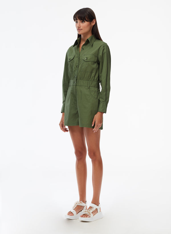 Feather Weight Cotton Twill Cargo Short Jumpsuit