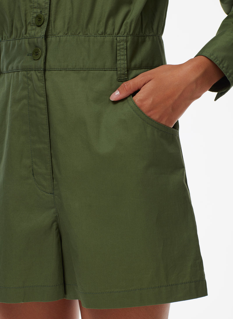 Feather Weight Cotton Twill Cargo Short Jumpsuit Feather Weight Cotton Twill Cargo Short Jumpsuit
