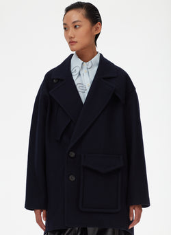 Felted Wool Oversized Cocoon Half Coat Felted Wool Oversized Cocoon Half Coat