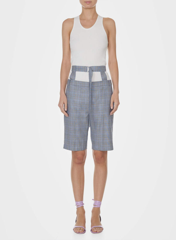 티비 반바지 Tibi Cooper Menswear Short With Belt,GREY MULTI