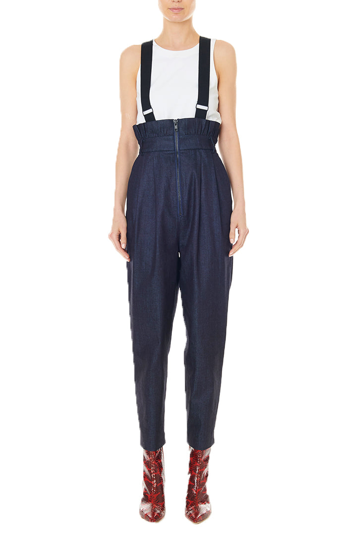 Dark Denim Paperbag Overalls with Detachable Straps Dark Denim-1