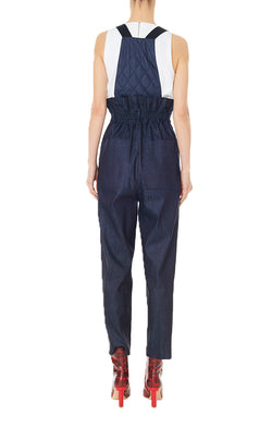 Dark Denim Paperbag Overalls with Detachable Straps Dark Denim-2