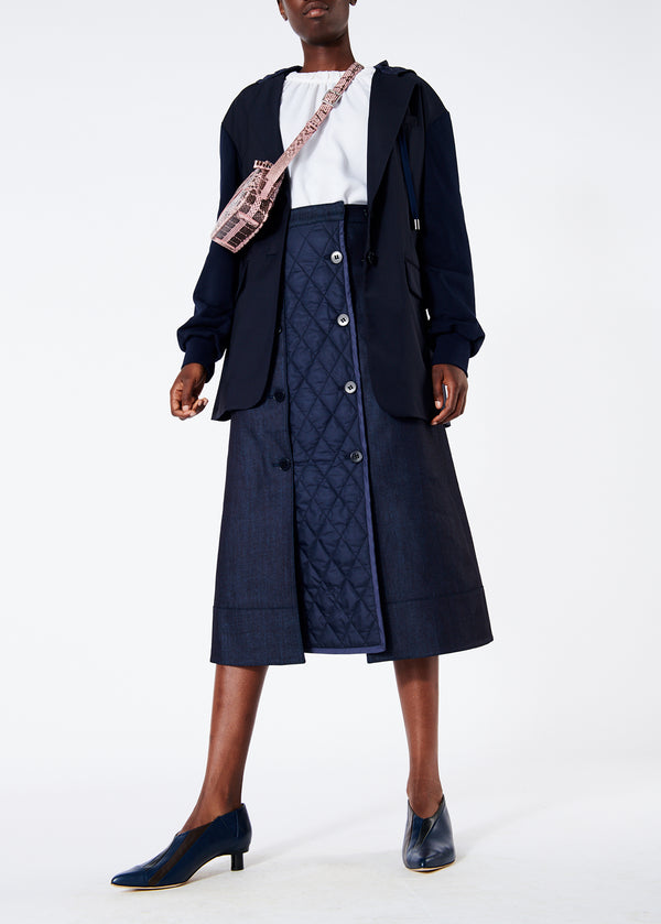 Dark Denim Trench Skirt