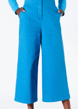 Garment Dyed Twill Cropped Wide Leg Jean Sky Blue-1