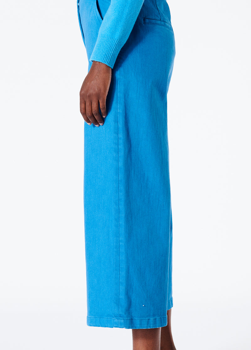 Garment Dyed Twill Cropped Wide Leg Jean Sky Blue-2