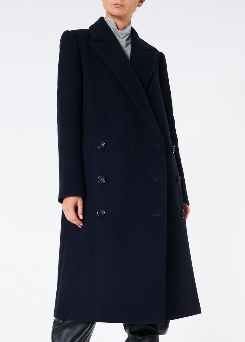 Giles Wool Coat Navy-1