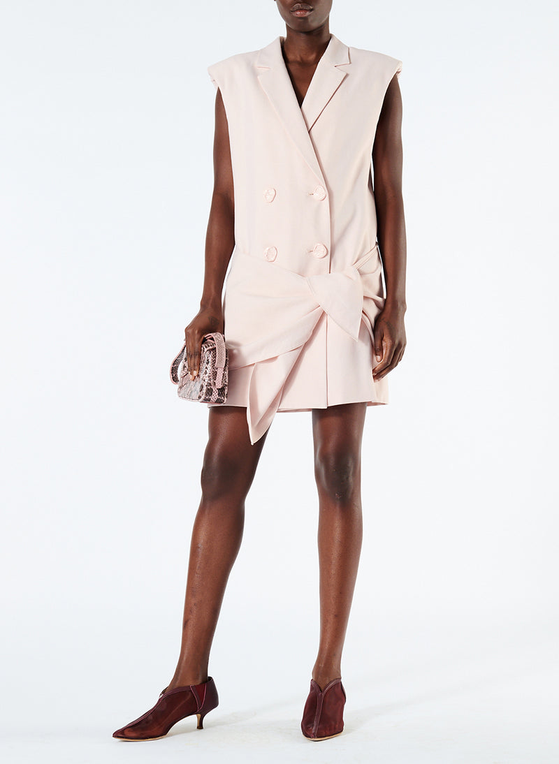 Linen Viscose Sleeveless Jacket Dress with Removable Tie Baby Pink-1